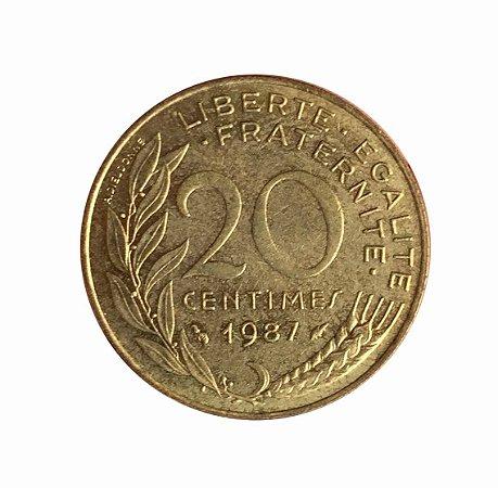 Moeda Antiga da França 20 Centimes 1987
