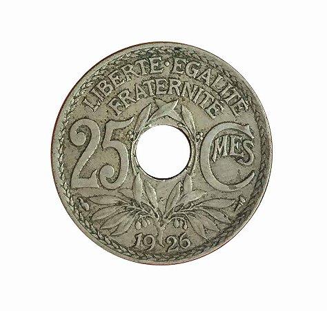 Moeda Antiga da França 25 Centimes 1926