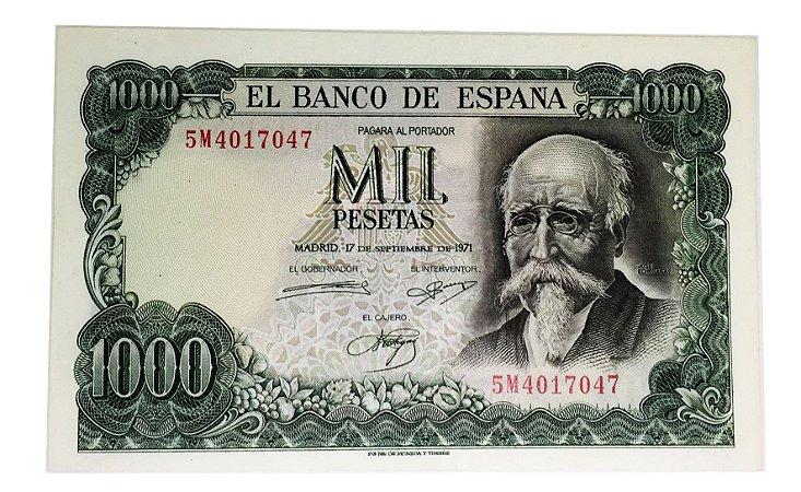 Cédula Antiga da Espanha 1000 Pesetas 1971
