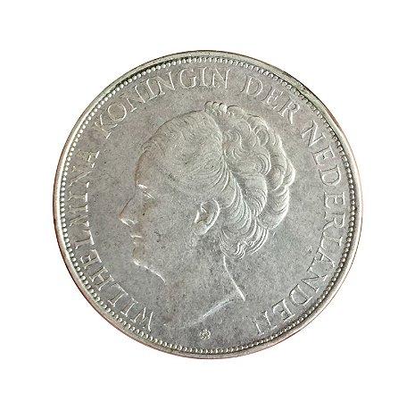 Moeda Antiga da Holanda 2 1/2 Gulden 1939