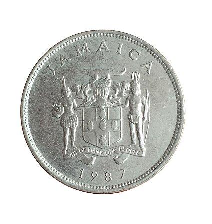 Moeda Antiga da Jamaica 25 Cents 1987