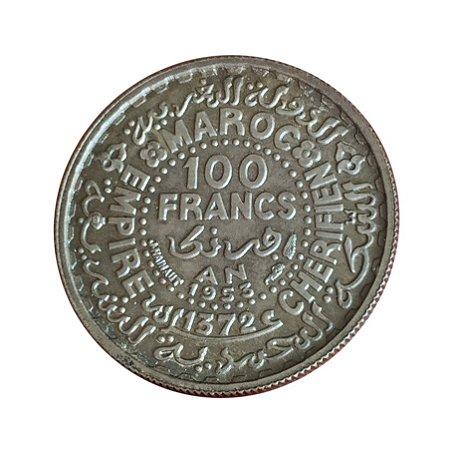 Moeda Antiga de Marrocos 100 Francs 1953
