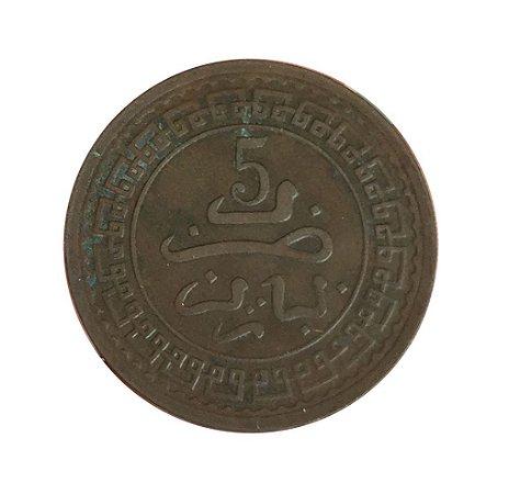 Moeda Antiga de Marrocos 5 Mazunas AH 1321 (1903)
