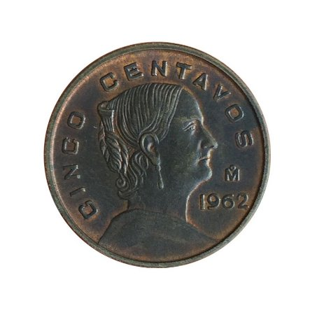 Moeda Antiga do México 5 Centavos 1962