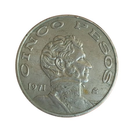 Moeda Antiga do México 5 Pesos 1971