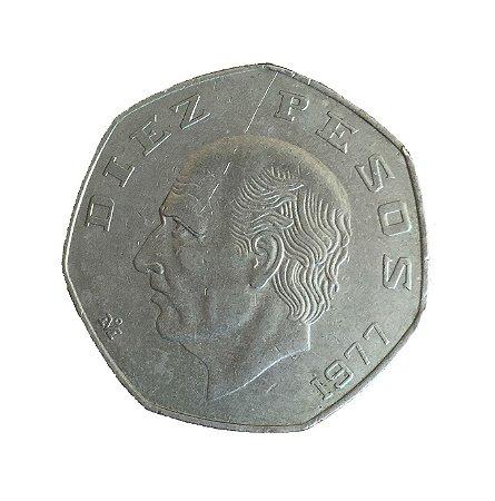 Moeda Antiga do México 10 Pesos 1977
