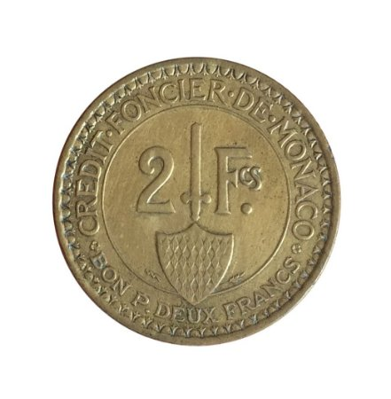 Moeda Antiga de Mônaco 2 Francs 1926