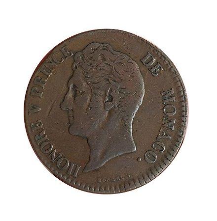 Moeda Antiga de Mônaco 5 Centimes 1837