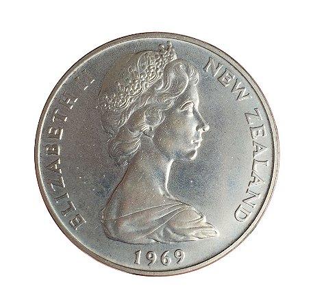 Moeda Antiga da Nova Zelândia $1 1969 - Viagem do Capitão Cook