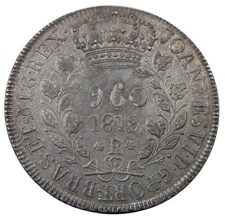 Moeda Antiga do Brasil 960 Réis 1818R sobre 1 Peso do Chile 1818
