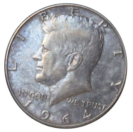 Moeda Antiga dos Estados Unidos Half Dollar 1964D