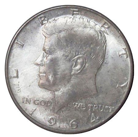 Moeda Antiga dos Estados Unidos Half Dollar 1964
