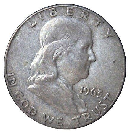 Moeda Antiga dos Estados Unidos Half Dollar 1963D