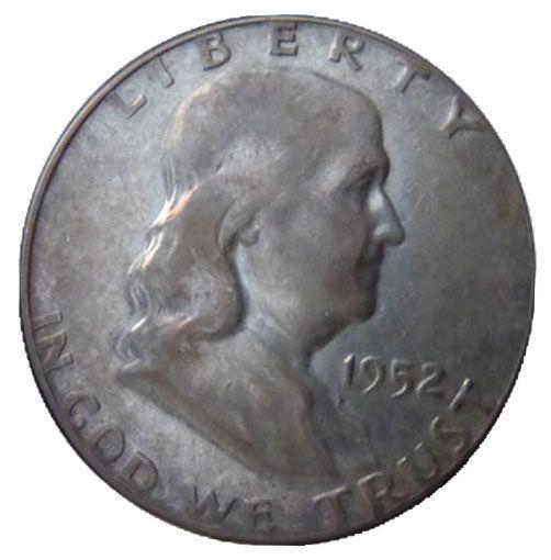Moeda Antiga dos Estados Unidos Half Dollar 1952