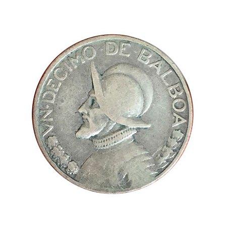 Moeda Antiga do Panamá 1/10 de Balboa 1947