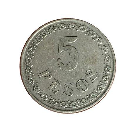 Moeda Antiga do Paraguai 5 Pesos 1939