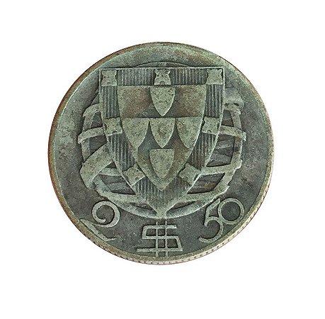 Moeda Antiga de Portugal 2,50 Escudos 1943