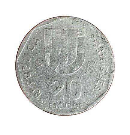 Moeda Antiga de Portugal 20 Escudos 1987