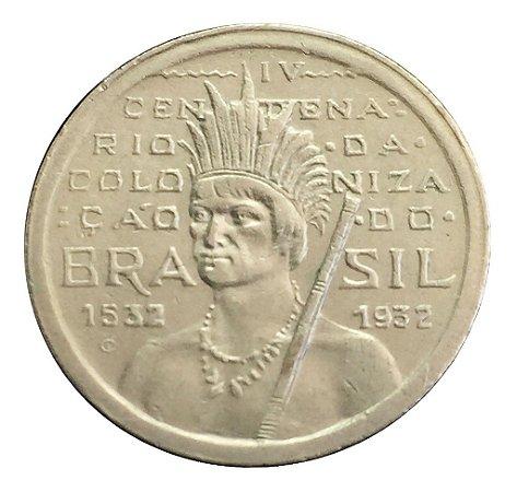 Moeda Antiga do Brasil 100 Réis 1932 Primeira da Série Vicentina