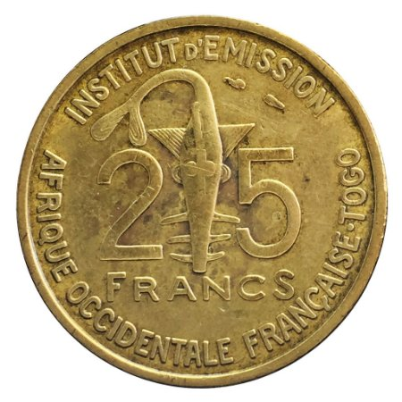 Moeda Antiga do Togo 25 Francs 1957