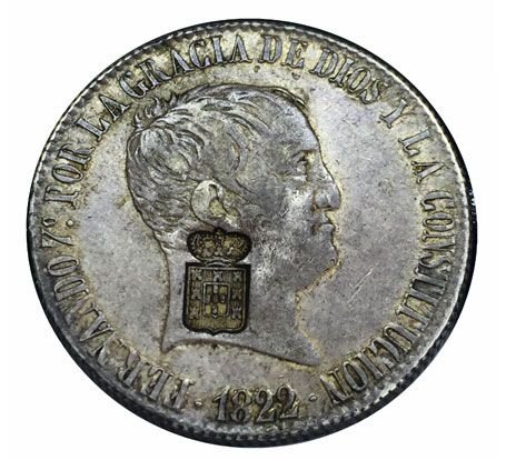 Moeda Antiga de Portugal 20 Reales 1822 com Carimbo de Escudete Coroado