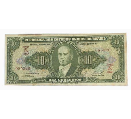 Cédula Antiga do Brasil 10 Cruzeiros 1954