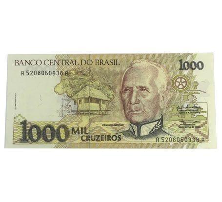 Cédula Antiga do Brasil 1000 Cruzeiros 1990