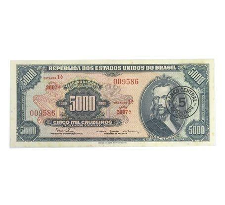 Cédula Antiga do Brasil 5 Cruzeiros Novos 1967