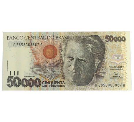 Cédula Antiga do Brasil 50000 Cruzeiros 1992