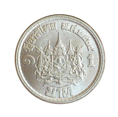 Moeda Antiga da Tailândia 1 Baht BE2504 (1961)
