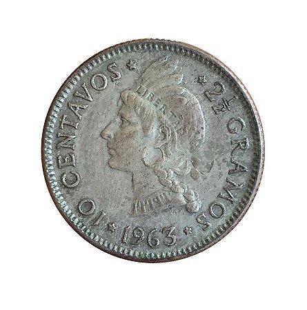 Moeda Antiga da República Dominicana 10 Centavos 1963 - Comemoração da Restauração da República