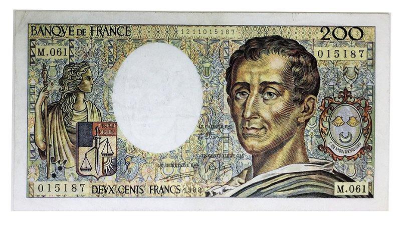 Cédula Antiga da França 200 Francs 1988