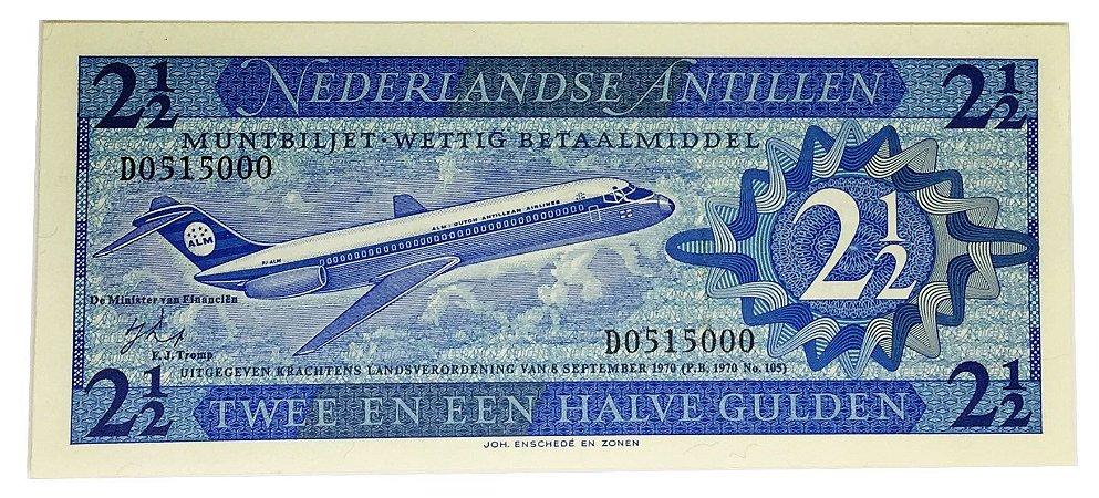 Cédula Antiga das Antilhas Holandesas 2 1/2 Gulden 1970