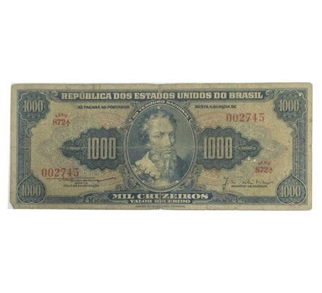 Cédulas Antigas do Brasil 1000 Cruzeiros 1955