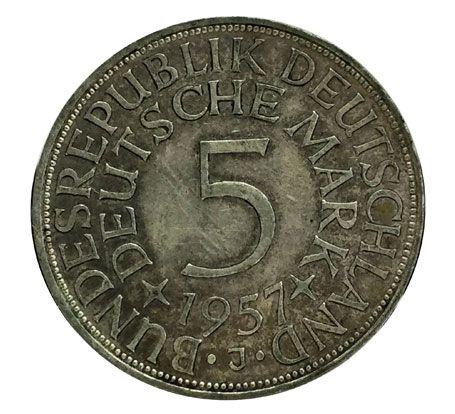 Moeda Antiga da Alemanha 5 Mark 1957 J