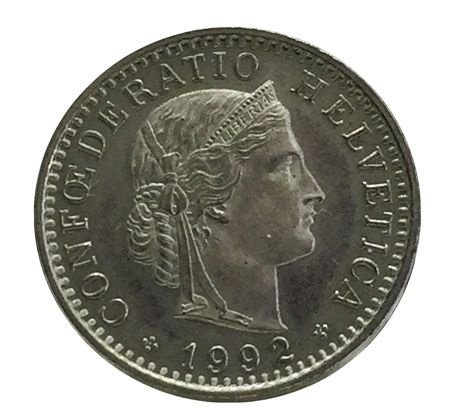 Moeda Antiga da Suíça 20 Rappen 1992