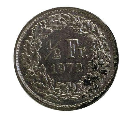 Moeda Antiga da Suíça 1/2 Franc 1972