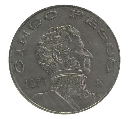Moeda Antiga do México 5 Pesos 1977