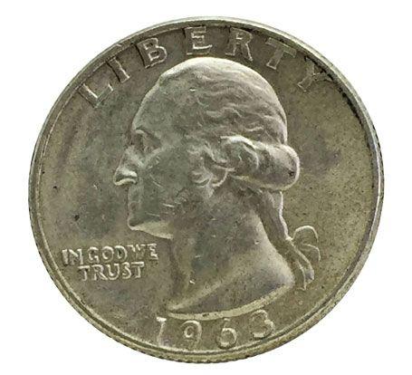 Moeda Antiga dos Estados Unidos Quarter Dollar 1963D