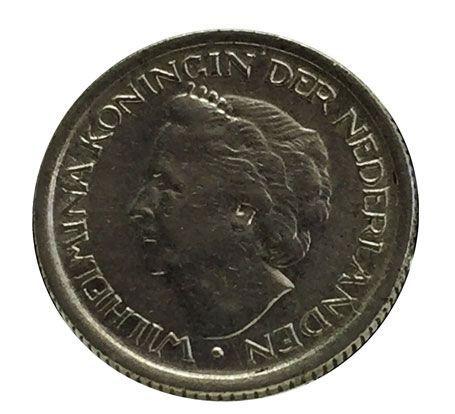 Moeda Antiga da Holanda 25 Cents 1948