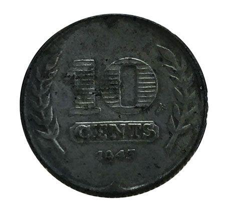 Moeda Antiga da Holanda 10 Cents 1943