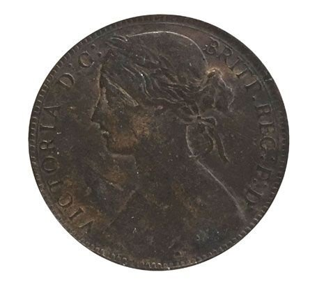 Moeda Antiga da Inglaterra 1 Penny 1867
