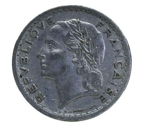 Moeda Antiga da França 5 Francs 1949