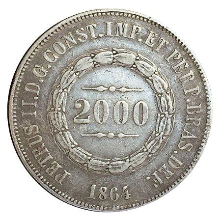 Moeda Antiga do Brasil 2000 Réis 1864