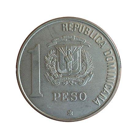 Moeda Antiga da República Dominicana 1 Peso 1988 - Comemoração do V Centenário do Descobrimento e Evangelização da América