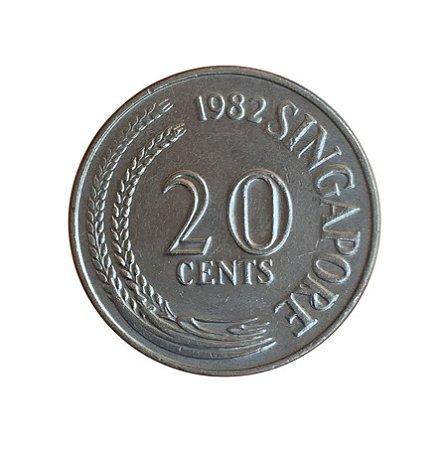 Moeda Antiga de Singapura 20 Cents 1982