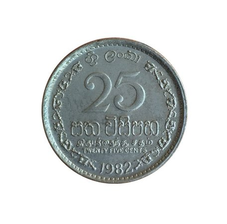 Moeda Antiga de Sri-Lanka 25 Cents 1982
