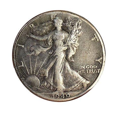 Moeda Antiga dos Estados Unidos Half Dollar 1940 - Walking Liberty