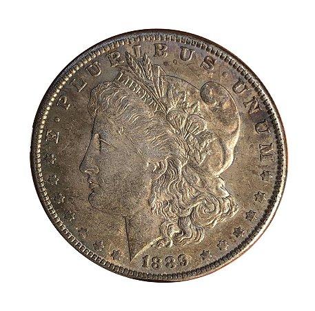 Moeda Antiga dos Estados Unidos Morgan Dollar 1889