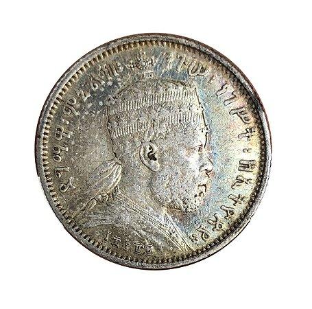 Moeda Antiga da Etiópia 1/4 Birr 1889
